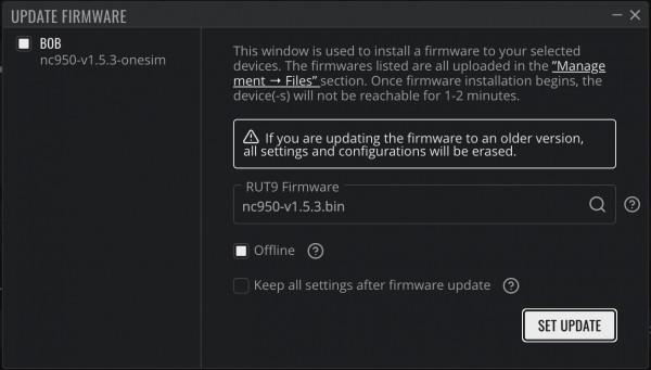 """Set Update"" button"